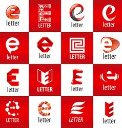 large set of logos letter E vector image