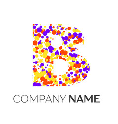 letter b logo with purple yellow red particles vector image
