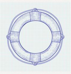 lifebuoy hand drawn sketch vector image