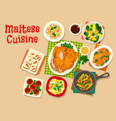 Maltese cuisine healthy food icon for menu design vector