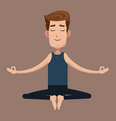 man posing yoga health vector image