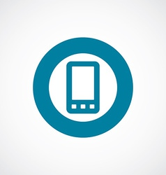 mobile phone icon bold blue circle border vector image