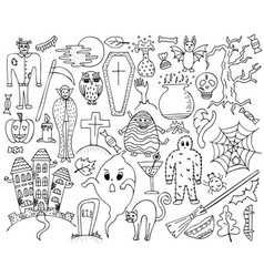 Monochrome set with hand-drawn halloween doodles vector