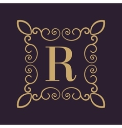 Monogram letter R Calligraphic ornament Gold vector