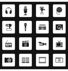 Multimedia equipment icons set simple style vector image
