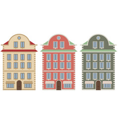 Old european city houses colored vector