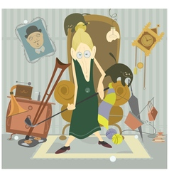 Old woman plays golf vector image