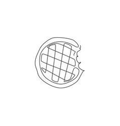 One single line drawing fresh waffles bites vector