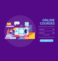 Online courses login background vector