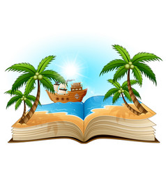 Open book with group of pirate on the beach vector