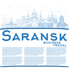 Outline saransk russia city skyline with blue vector