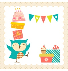 Owl birthday party vector