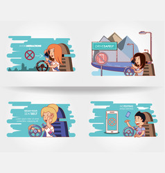 People driving with driver safely icons vector