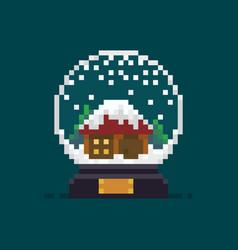 Pixel art snow globe vector