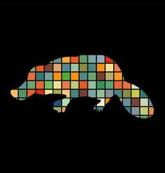 Platypus mammal color silhouette animal vector