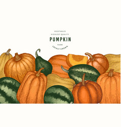 pumpkin color design template hand drawn vector image