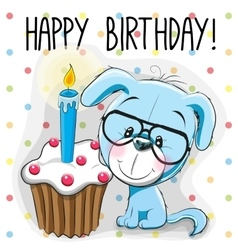 Puppy with cake vector