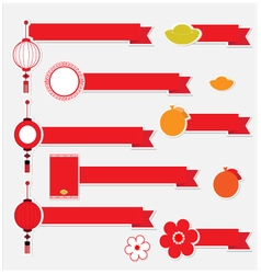 Ribbon with icon Chinese New Year vector image