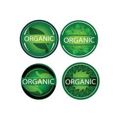 round green leaf organic label icon set vector image