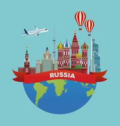 Russia travel poster vector