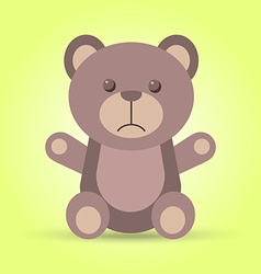 Sad brown teddy bear in vector image