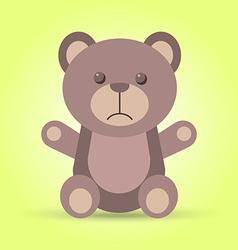 Sad brown teddy bear in vector image