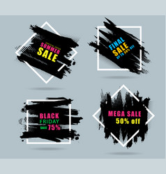 sales banner creative design with set of black vector image