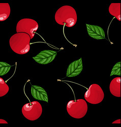 Seamless pattern red cherry with black contour on vector