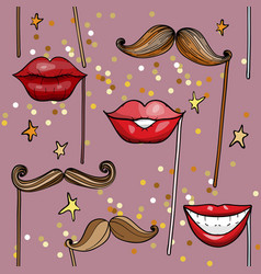 seamless pattern with movember party accessories vector image