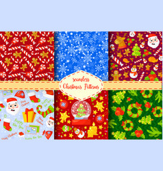 set 6 seamless new years christmas patterns vector image