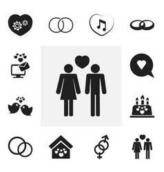 Set of 12 editable heart icons includes symbols vector