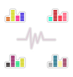 Set of color label design collection of sound and vector