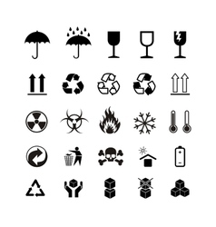 Set of different black cargo symbols on white vector image