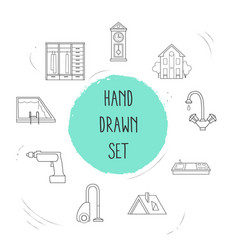 set of interior icons line style symbols with roof vector image