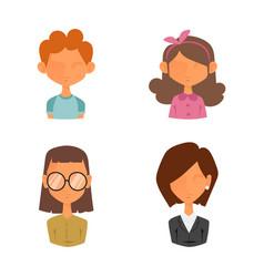 set people portrait face icons web avatars flat vector image