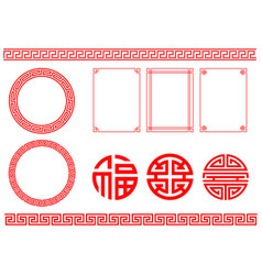 Set traditional chinese decorations vector