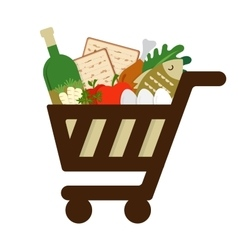 Shopping cart filled in with traditional food vector