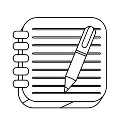 Silhouette spiral notebook with pen icon vector