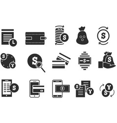 simple set finance and money icons vector image