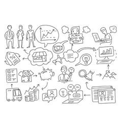 Sketch diagram of cases business plan vector