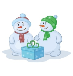snowmens with gift box vector image