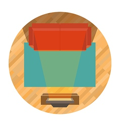 Sofa and tv top view vector