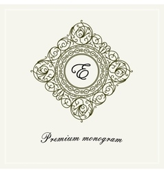 Stylish graceful monogram line art logo vector