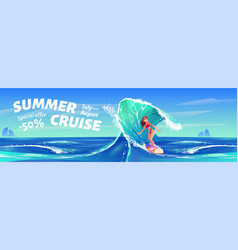 summer cruise banner with surfer girl vector image