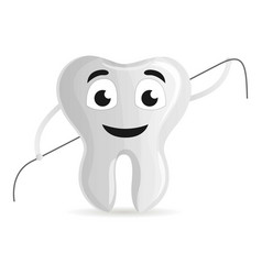 tooth with dental floss icon cartoon style vector image