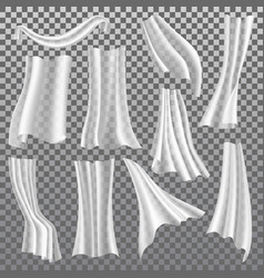 Transparent curtains white drapery 3d vector