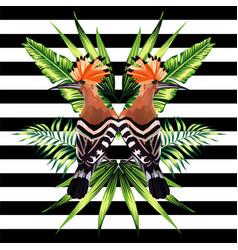 tropical bird mirror background vector image