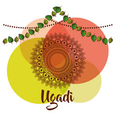 ugadi creative decorated mandala with pennant vector image