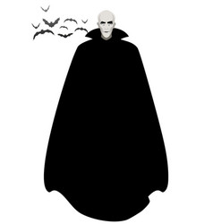Vampire wearing a black cape under a group vector