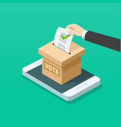 voting box online on mobile phone vector image